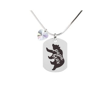 Inspirational Tag Necklace In AB Made With Crystals From Swarovski  - PAPA BEAR