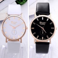 Simple style white and black geneva watch for women girls women dress watch leather strap quartz wristwatch watches for female With Thanksgiving&Christmas Gift Box= 1956654468