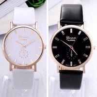 Simple style white and black geneva watch for women girls women dress watch leather strap quartz wristwatch watches for female
