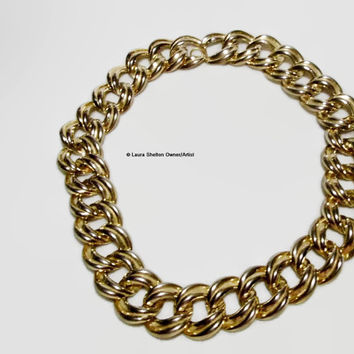 Gold Tone, Chunky, Link Chain Necklace, Big, Grungy, Textured, Designer Quality, Gold Tone Links
