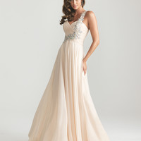 Night Moves by Allure 2013 Prom Dresses - Champagne Chiffon Embellished One Shoulder Empire Waist Prom Dress