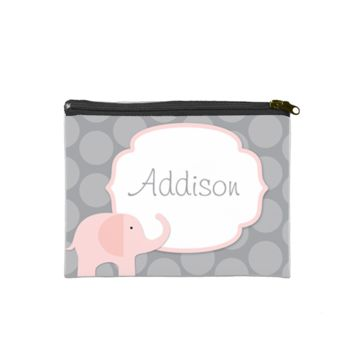 "Pink Elephant 7"" x 5"" Cosmetic Bag - Cosmetic Custom Tote Bags"