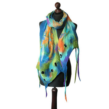 Nuno felted scarf colorful nuno felted collar felted multicolor shawl handmade art to wear blue orange green felt spring scarf boho OOAK
