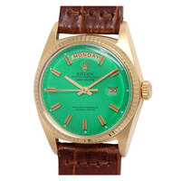 Rolex Yellow Gold Day Date with Custom Colored Green Dial circa 1972