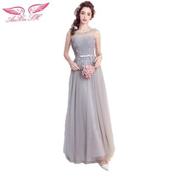 AnXin SH Backless grey lace flower evening dress bride toast dress dinner annual meeting presided evening dress 2507Q