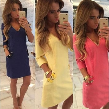 New Women V-neck Bodycon Slim Long Sleeve Clubwear Party Evening Mini Dress [9305695303]