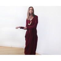 Knitted maxi casual red dress with pockets, Casual daily knit Bordeaux dress