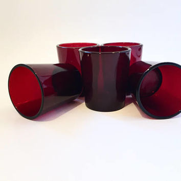 Red Glass Votive Candleholders, Anchor Hocking Royal Ruby Set of 5