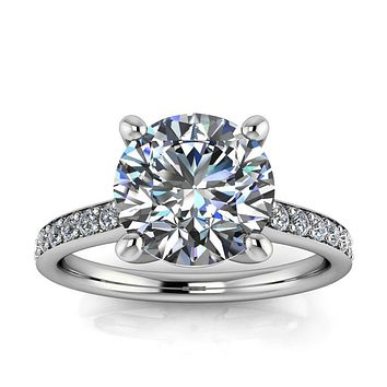 Large Moissanite Engagement Ring Thin Diamond Band- Alexa
