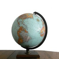 Vintage World Globe 1970s Replogle World Designer Series 12 Inch Diameter Raised Relief Blue with Wooden Stand
