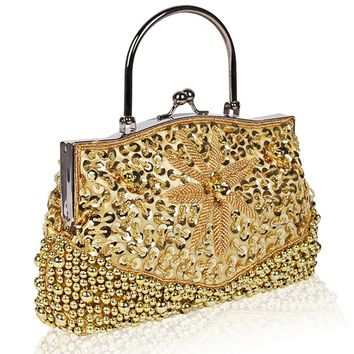 Vintage new fashion Rhinestone women beaded evening bags handmade sequin wedding party clutch purses ladies handbags wallet