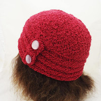 Handknitted Women Hat With Buttons, Cranberry Ladies Hat, Velvet Hat