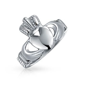 BFF Celtic Irish Friendship Couples Claddagh Ring Stainless Steel