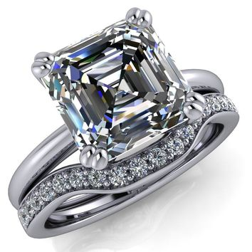 Ashton Asscher Moissanite 4 Prong Cathedral Engagement Ring