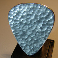 Guitar Pick Handmade from Aluminum with Angry Punk Texture