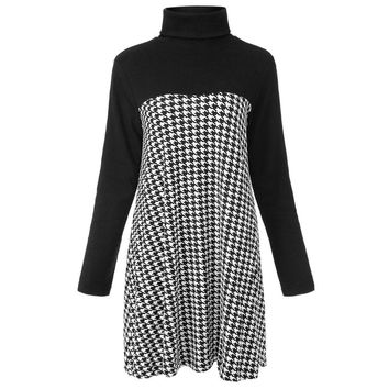 Stylish Turtleneck Long Sleeve Houndstooth A-Line Slimming Women's Dress