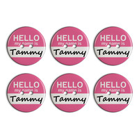 Tammy Hello My Name Is Plastic Resin Button Set of 6