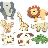 Wooden balsa animal magnets, child magnets, wooden animals, neodymium magnets, magnetic board