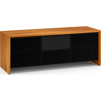 Barcelona 65 Inch TV Stand Cabinet Center Speaker Opening Natural Cherry