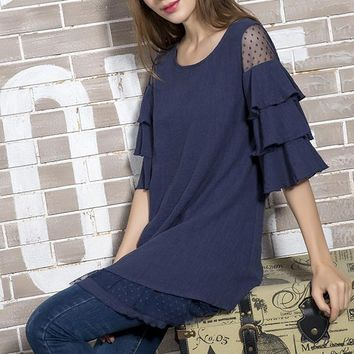 Tiered Ruffle Layer Accent Tunic - Navy