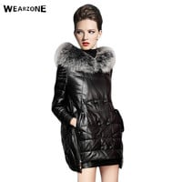 DHL Free Shipping Brand Winter Genuine Leather Women Long Jacket Fashion Real Fox Fur Collar Leisure Slim Women Down Parka Coats