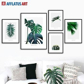 Green Plants Cactus Monstera Palm Leaves Wall Art Canvas Painting Nordic Posters And Prints Wall Pictures For Living Room Decor