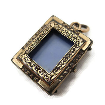 Antique Victorian Mourning Locket - Book Locket, Window, French Jet, Gold Fill, Estate Jewelry,