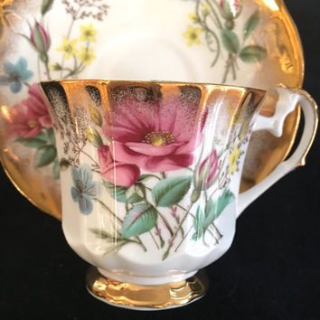 Future Antique Elizabethan Tea Cup and Saucer, Pink and Gold Floral Teacup, Vintage China