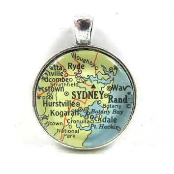 Vintage Map Pendant of Sydney, Australia, in Glass Tile Circle