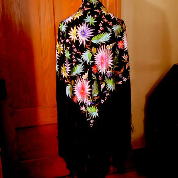 Antique Japanese Silk Embroidered Piano Shawl