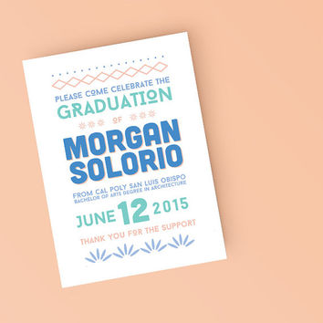 Tribal Boho College Grad announcement - Printable Graduation Announcement Invitation -