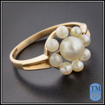 Antique 14k Gold Pearl Cluster Ring - Size 6