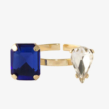 Cobalt Gem and Diamond Open Ring