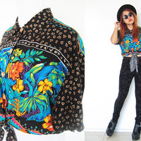 Vintage 80's black bird of paradise floral flower button down tie front print cropped shirt