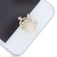 1pcs Useful 3D Crown Diamond Crystal Phone Sticker Home Button Sticker For iPhone 4/5/5s/6
