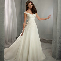 Cap Sleeves Lace Wedding Dresses