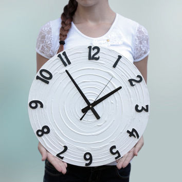Large Black and WHITE Minimal WALL CLOCK Unique modern design