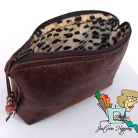 Brown Vegan Leather with Cheetah Lining Zippered Pouch Cosmetic Bag Cluth FREE SHIPPING