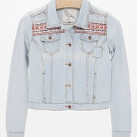 White Crow Embroidered Denim Jacket