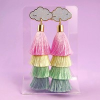 Cloud Tassel Earrings - Pastel Rainbow