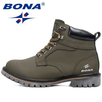 BONA New Arrival Style Men Hiking Shoes Lace Up Outdoor Jooging Trekking Sneakers Cow Leather Men Climbing Boots Free Shipping