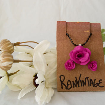 Handmade Fuchsia Purple Rose Earrings with Matching Black Necklace. Great Christmas Stocking Stuffer