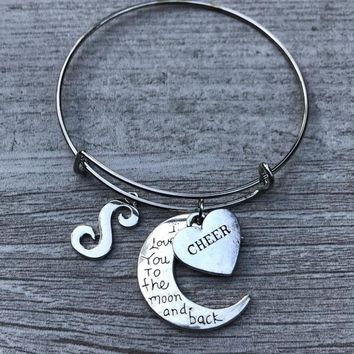 Personalized Cheer Love You to the Moon and Back Bangle Bracelet