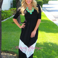 3/4 Sleeve Black and White Lace Maxi Dress TALL