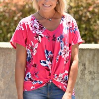 Falling For Floral Top - Fuchsia
