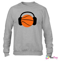 DJ Basketball head ! ipod sports !_ Crewneck sweatshirtt