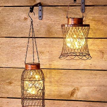 Chicken Wire Lantern Solar Hanging Rustic Primitive Farmhouse Decor NEW