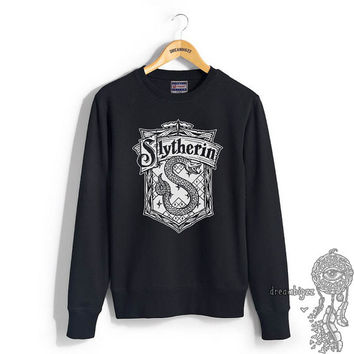 Slytherin Crest #2 One Color printed on Black Crew neck Sweatshirt