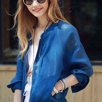 Blue Loose Zipper Coat