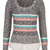 2 In 1 Striped Sweater And Blouse - Multi